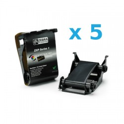800011-101 Pack de 5 Ribbon NEGRO para ZXP Series 1