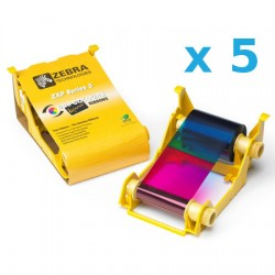 800033-340 PACK de 5 Cartridge COLOR YMCKO. Para impresoras ZXP3 IX Series