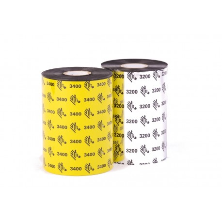 03200BK11030 110mm x 300m Ribbon MEZCLA ZEBRA 3200 WAX-RESIN. OUT. Core 25mm, 1 Pulgada. CAJA con 6 ribbons